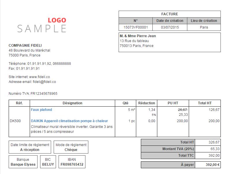 personnaliser format facture