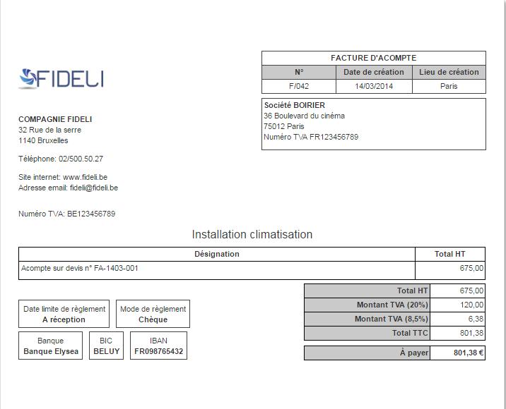 modele d u0026 39 une facture d u0026 39 acompte