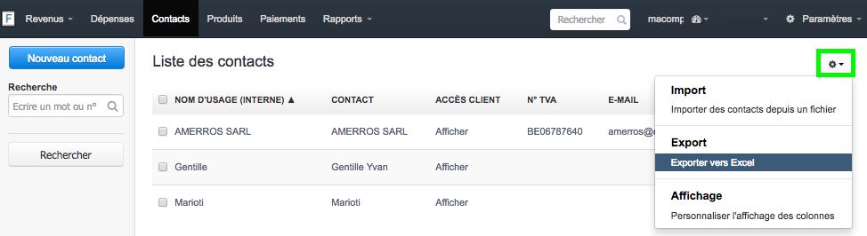 Exporter vers Excel Données Facture Fichiers Facture Facturation