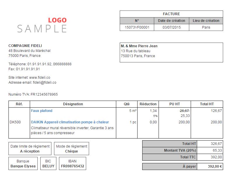 facture enveloppe personnalisée