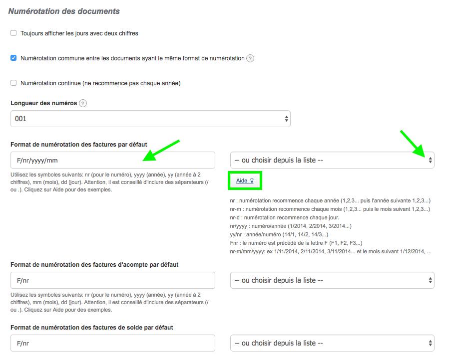 Numérotation des Documents Paramètres Facturation Loi Facture VosFactures Numérotation Suivie
