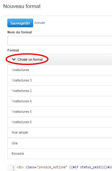 créer format modèle facture