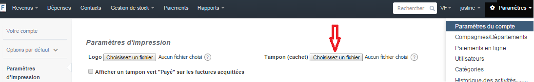 ajouter cachet tampon facture