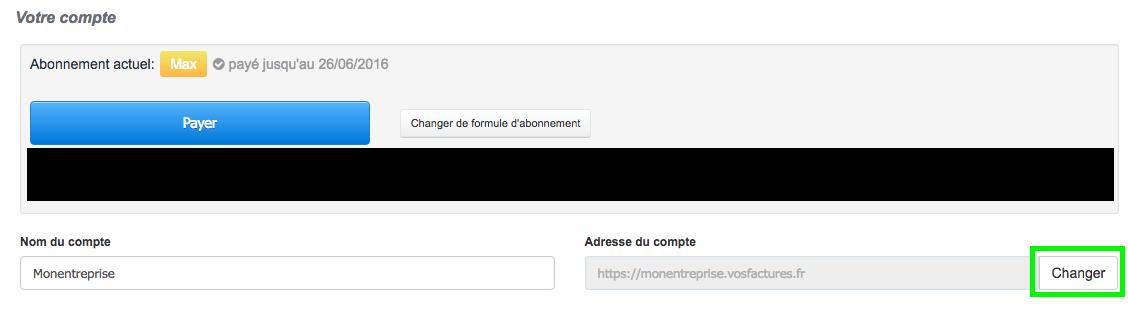 Changer Adresse URL du Compte Personnalisation VosFactures Facturation