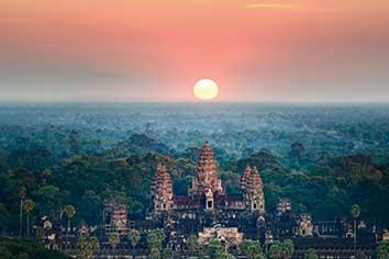 Beautiful aerial view of angkor wat at sunrise-siem reap- cambodia