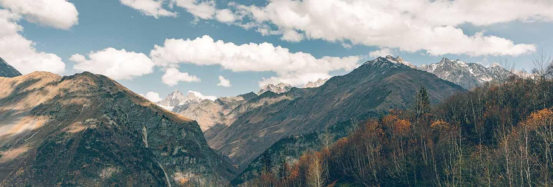 Nature scenic of caucasus mountains trekking trails in georgia.