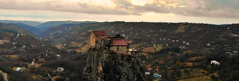 Monastery and church of katskhi in georgia at sunset