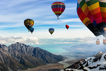 Hot air balloons festival in sky