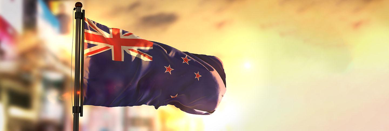 New zealand flag against city blurred background at sunrise