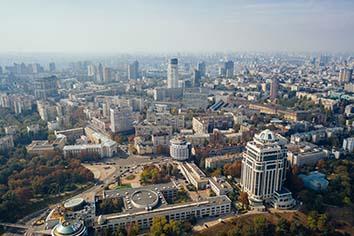 Kyiv capital city of ukraine. aerial view