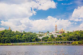 Morning in the capital of ukraine, the city of kiev overlooking the pechersk lavra
