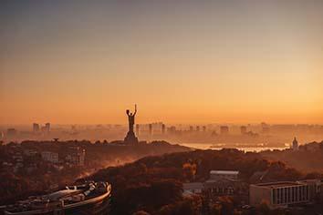 Mother motherland monument at sunset. in kiev, ukraine