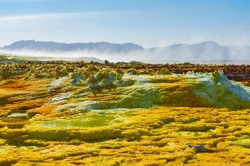 Acid ponds in dallol site in the danakil depression in ethiopia, africa