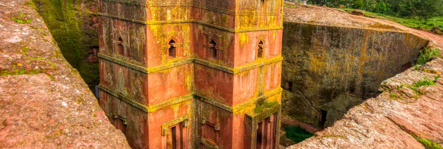 Exterior views of lalibela churches in ethiopia