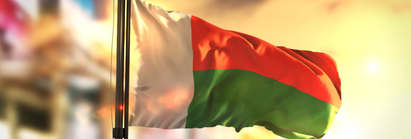 Madagascar flag against city blurred background at sunrise backlight