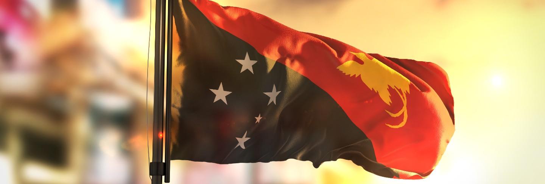 Papua new guinea flag against city blurred background at sunrise backlight