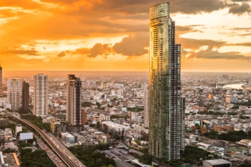Cityscape view and building at twilight in bangkok, thailand