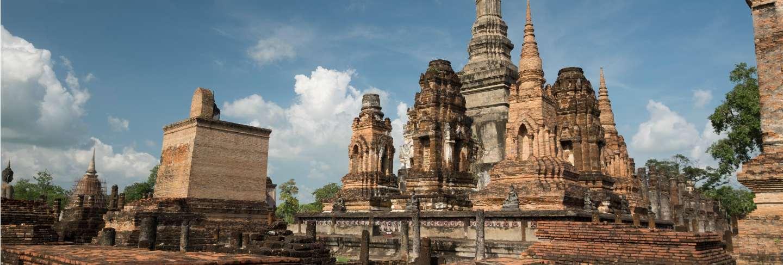Traditional antique temple sukhothai thailand