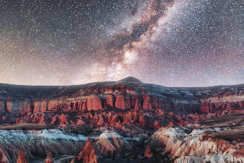 Beautiful stars over the canyon in cappadocia