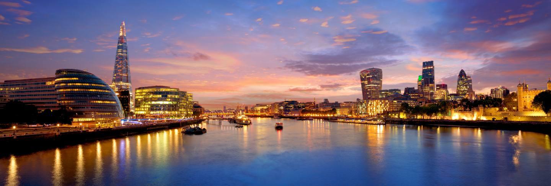 London skyline sunset city hall and financial