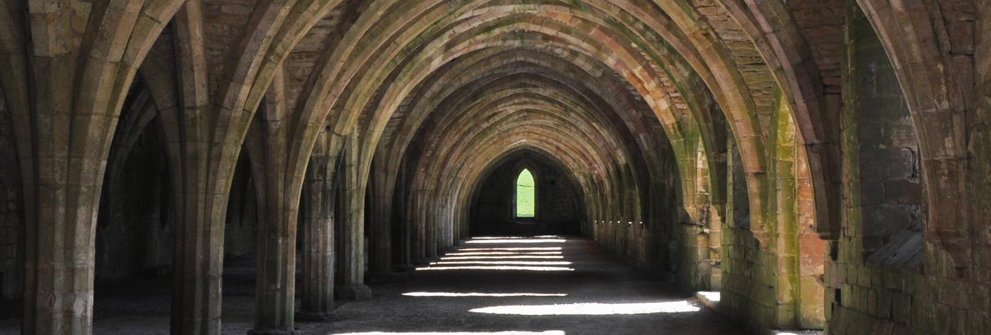 Vertical shot of a cellar in fountains abbey, yorkshire, england