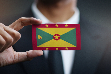Businessman holding card of grenada flag