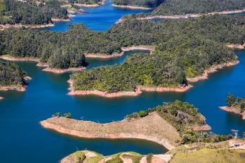 Guatape lake in antioquia, colombia