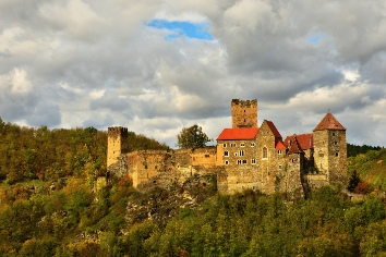 Beautiful autumn landscape in austria with a nice old hardegg castle.