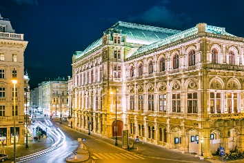 Opera house in vienna at night, austria