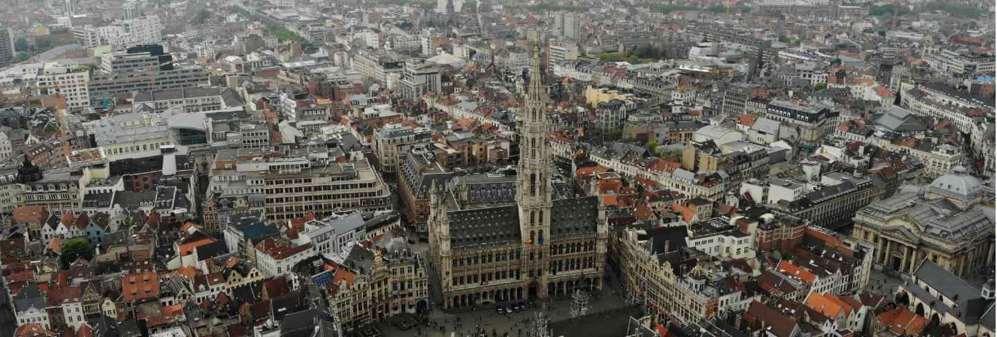 Amazing view from above. the capital of belgium. great brussels. very historical and touristic place. must see. view from drone. main square