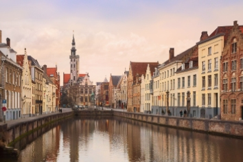 Panoramic view of the historic city center of bruges, belgium