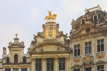 Renaissance roofs of historical buildings on grand place in brussel, belgium