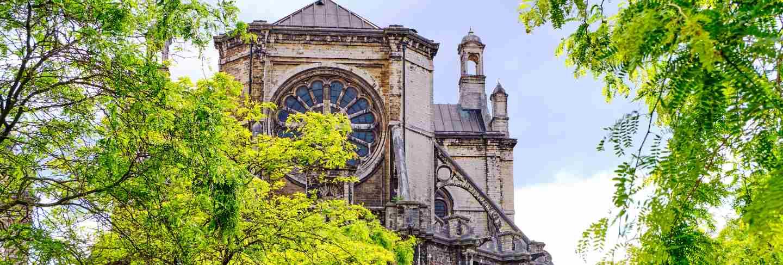 Facade of saint catherine church in brussels, belgium