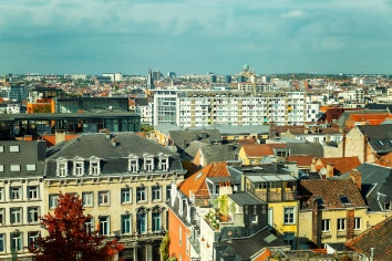 Beautiful top view of old houses in brussels