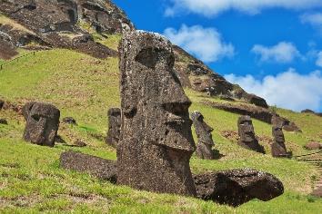 Rapa nui. the statue moai in rano raraku on easter island, chile