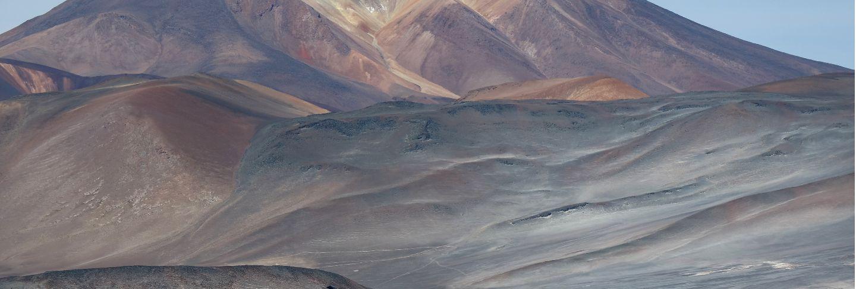 The picturesque cerro medano mountain with salar de talar salt lake, atacama desert, chile