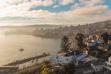 View of valparaiso, chile // city near the sea