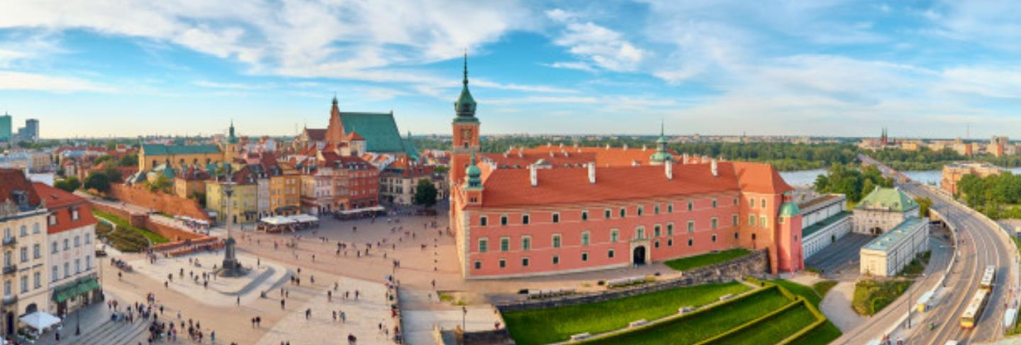 Aerial view of old town in warsaw, poland