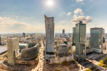 Warsaw downtown aerial view of modern buildings