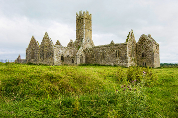 Landscapes of ireland. ruins of friary of ross in galway county