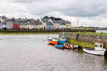 Landascapes of ireland. galway city and corrib river