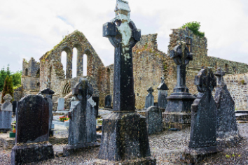 Landscapes of ireland. cemetery of cong abbey in galway county