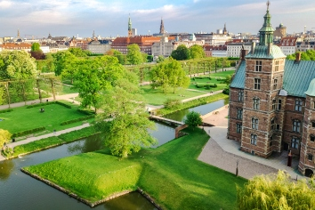 Aerial view of rosenborg slot castle and beautiful garden from above, kongens have park in copenhagen, denmark