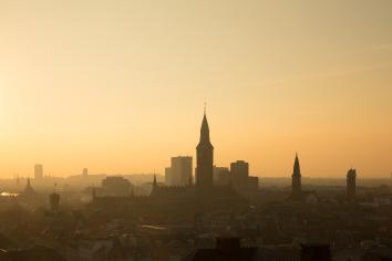City of copenhagen, denmark. beautiful evening light with backlit buildings.