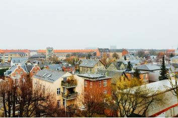 Wide shot of houses and buildings in the city of copenhagen