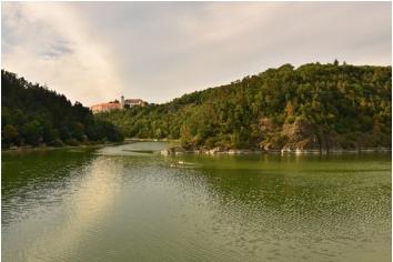 Beautiful old castle bitov in the forest above the dam. vranov dam. south moravia
