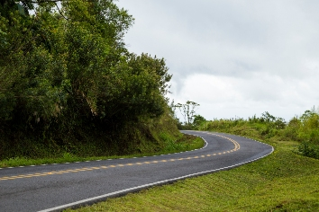 Empty mountain road near rainforest
