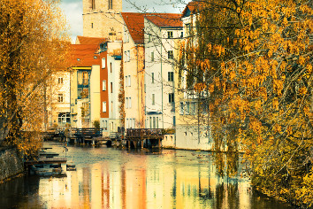 Historical part of erfurt, thuringia, germany