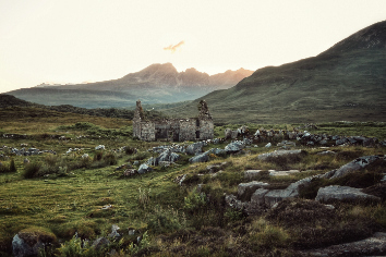 Beautiful rocky field with destroyed building