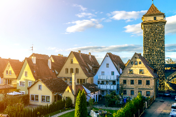Rothenburg ob der tauber, germany. top view of picturesque town on bright blue sky